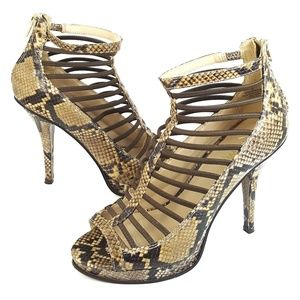 Nine West Caged Open Toe Snake Print Stiletto 7